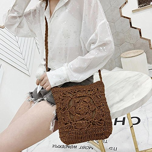 Bag Messenger Girls YouN Shoulder Crochet Beige Summer Vintage Coffee Women Bags Braid 44w6z