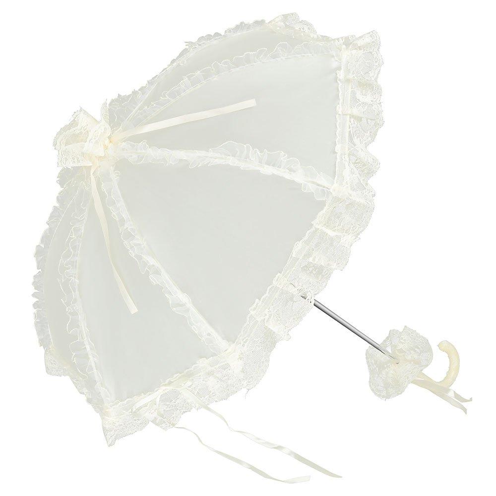 VON LILIENFELD Spitzenschirm Damen Klein Accessoire Brautschirm Hochzeitsschirm Satinstoff Malisa champagner