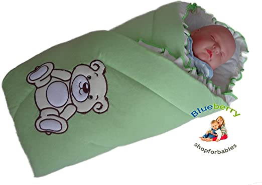BlueberryShop Embroidered jersey Swaddle Wrap Blanket Sleeping Bag for Newborn baby shower...