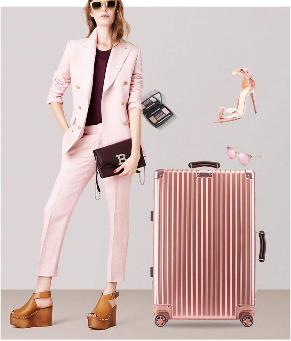Xinqing Retro Suitcase Female 20 Inch Caster Aluminum Frame Password Box Right Angle Trolley Case Business Suitcase Male Color White Black Blue Size 52.53623cm Best Choice Product Color : Black
