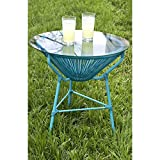 Beautiful BLUE Modern and Sleek Indoor/Outdoor Patio Table with Removable Glass Top