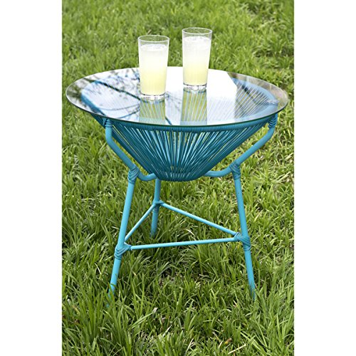 Beautiful BLUE Modern And Sleek Indoor/Outdoor Patio Table With Removable  Glass Top By Crafted