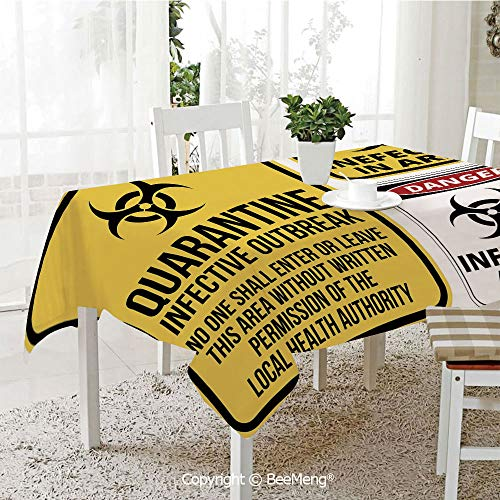 (BeeMeng Spring and Easter Dinner Tablecloth,Kitchen Table Decoration,Zombie Decor,Danger Caution Signs Quarantine Infective Area Biological Illustration Decorative,Yellow Red Black,59 x 83 inches)