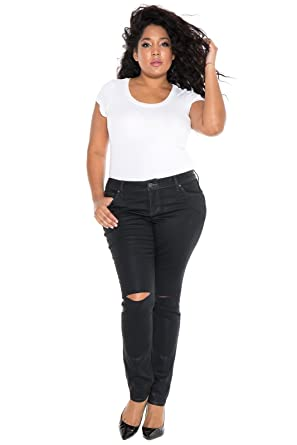 e203d5ad5b676 SLINK Jeans Women's Plus Size Coated Skinny Jean at Amazon Women's Clothing  store: