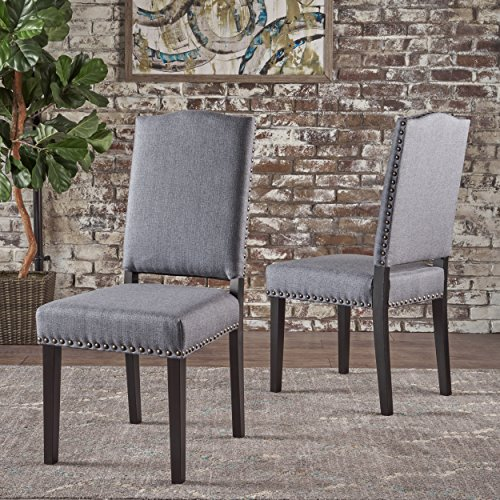 Carillo Armless Studded Dark Grey Fabric Dining Chairs (Set of 2)