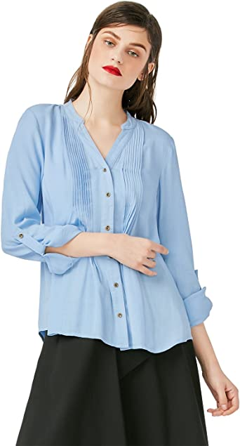 ZAN.STYLE Camisa Mujer Manga Larga Blusa Blanca Blusa Azul V Cuello