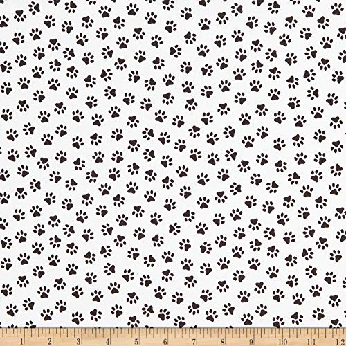 Windham Fabrics Somebody To Love Whistler Paw Print White Fabric Fabric by the Yard