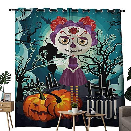 LewisColeridge Room Darkening Wide Curtains Halloween,Cartoon Girl with Sugar Skull Makeup Retro Seasonal Artwork Swirled Trees Boo,Multicolor,Light Blocking Drapes with Liner 84