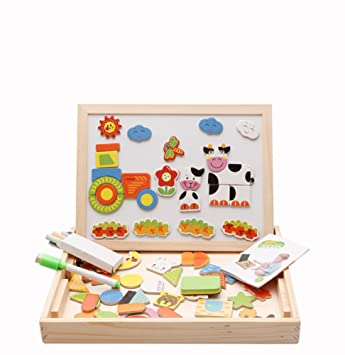 Magnetic Puzzle Double Faced Writing Wooden Board Easel Toy Kids