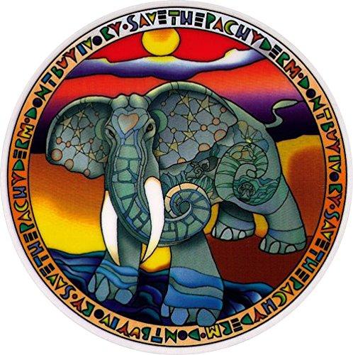 "Save the Elephants – Environmental Window Sticker / Decal - Circular 4.5"" Translucent"