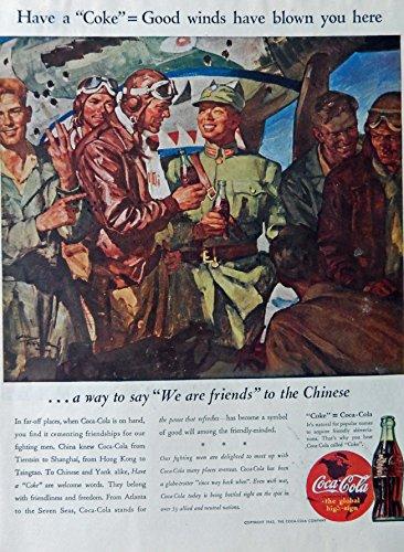 lor Illustration, print art (Coca Cola..We are friends to the Chinese) Original Vintage, Rare 1943 Collier's Magazine Art (Coca Cola Magazine)