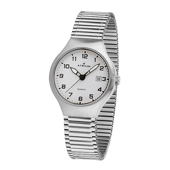 Atrium Mujer Reloj Cordón con fecha y manecillas luminiscentes. analógico de cuarzo Acero inoxidable mate y pulido 5 Bar Flex Cinta A27 - 50: Amazon.es: ...