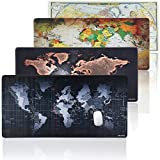 JIALONG Large Gaming Mouse Pad XXL, Non-slip Rubber Base, Waterproof for Computer, PC and Keyboard Laptop (World Map)