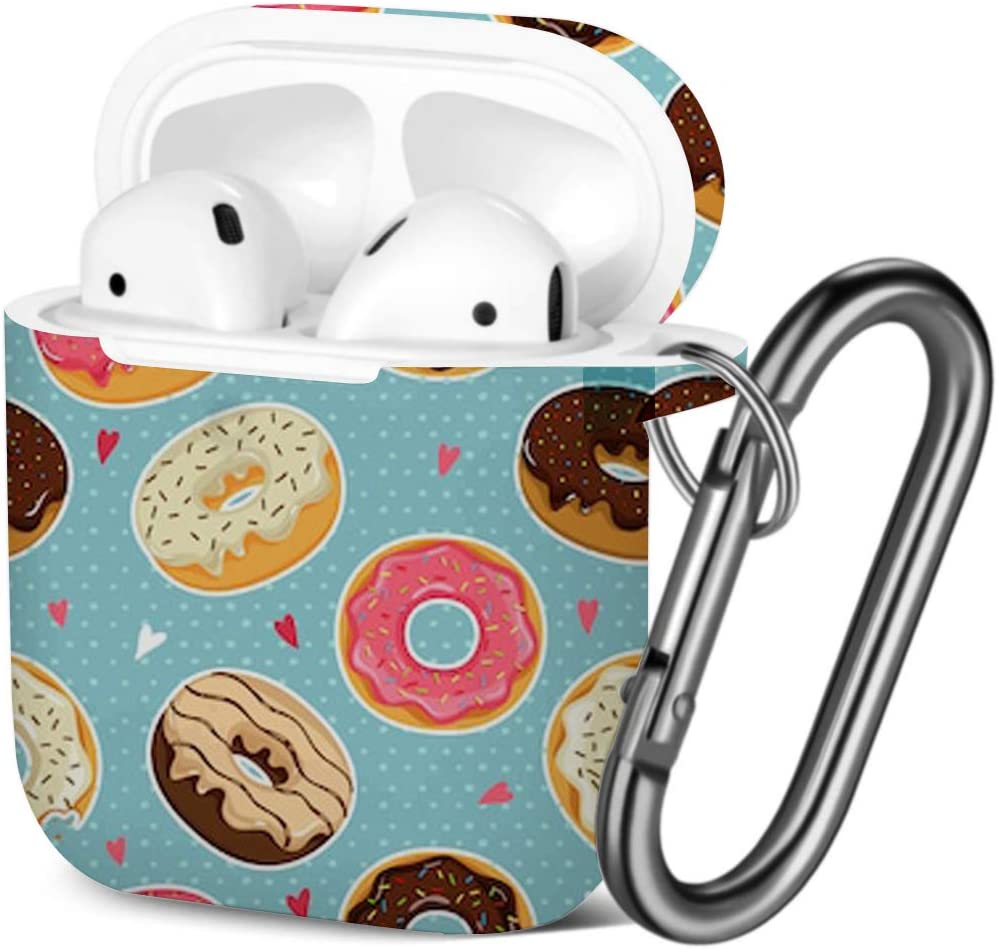 Shockproof Soft TPU Gel Case Cover with Keychain Carabiner for Apple AirPods Compatible with AirPods 2 and 1 Cute Donuts Colorful Glazing
