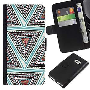 KingStore / Leather Etui en cuir / Samsung Galaxy S6 EDGE / Main Motif