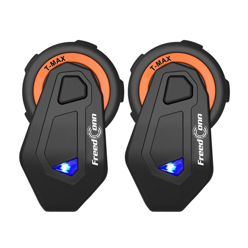 FreedConn Motorcycle Motorbike Helmet Bluetooth Intercom Interphone Communication System Headset for Riding Skiing(Range-1500M/6 Riders Group Intercom/Voice Propmt/Handsfree/FM Radio/GPS/2 Pack)