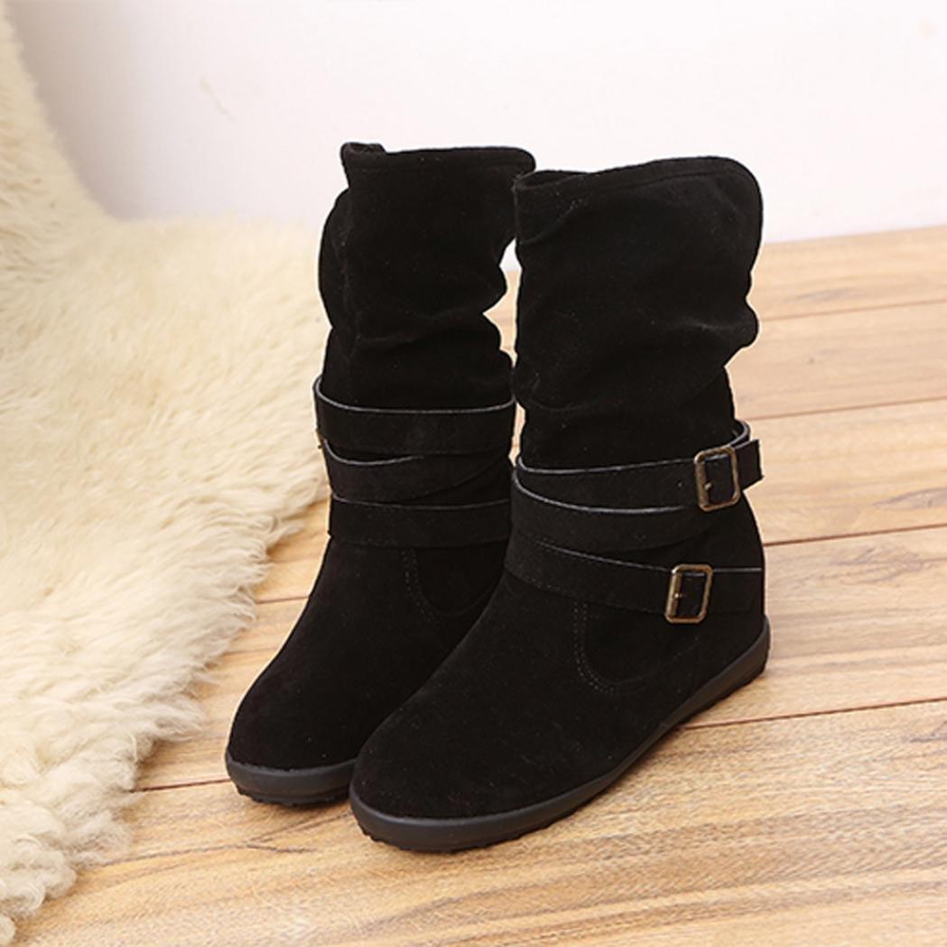 SUKEQ Womens Low Hidden Wedge Heel Slip On Slouchy Mid-Calf Boots, Double Buckle Biker Trim Flat Velvet Lined Snow Boots B077HBZJP8 9 B(M) US|Black