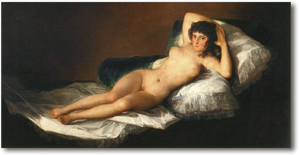 Cuadro Decoratt: La maja desnuda - Francisco de Goya 48x25cm. Cuadro de impresión directa.