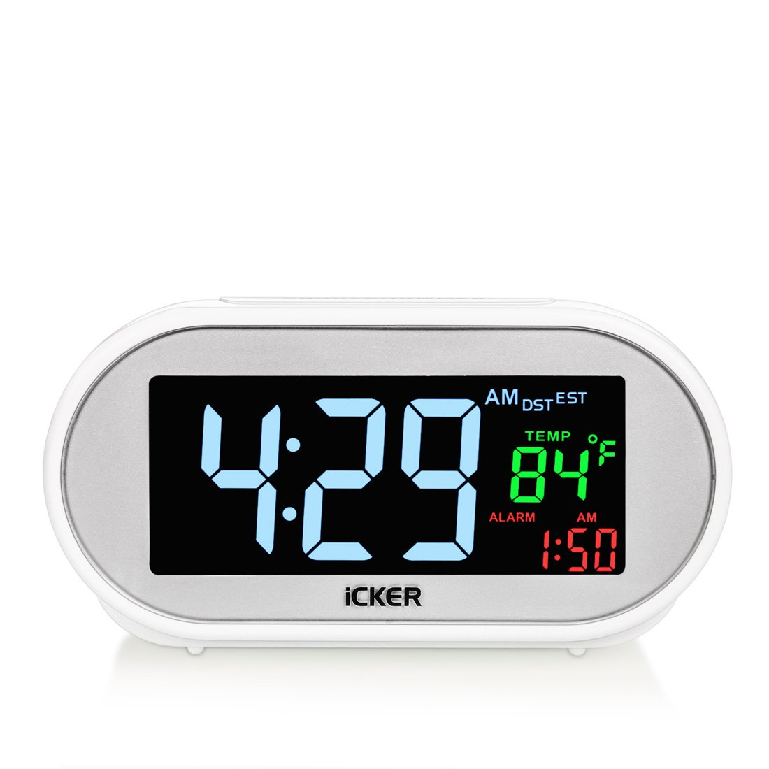 Digital Alarm Clock with USB Charger Port, Led Clock with Dimmer for Bedrooms, Four Time Zone, Auto DST, Indoor Temperature, Battery Backup