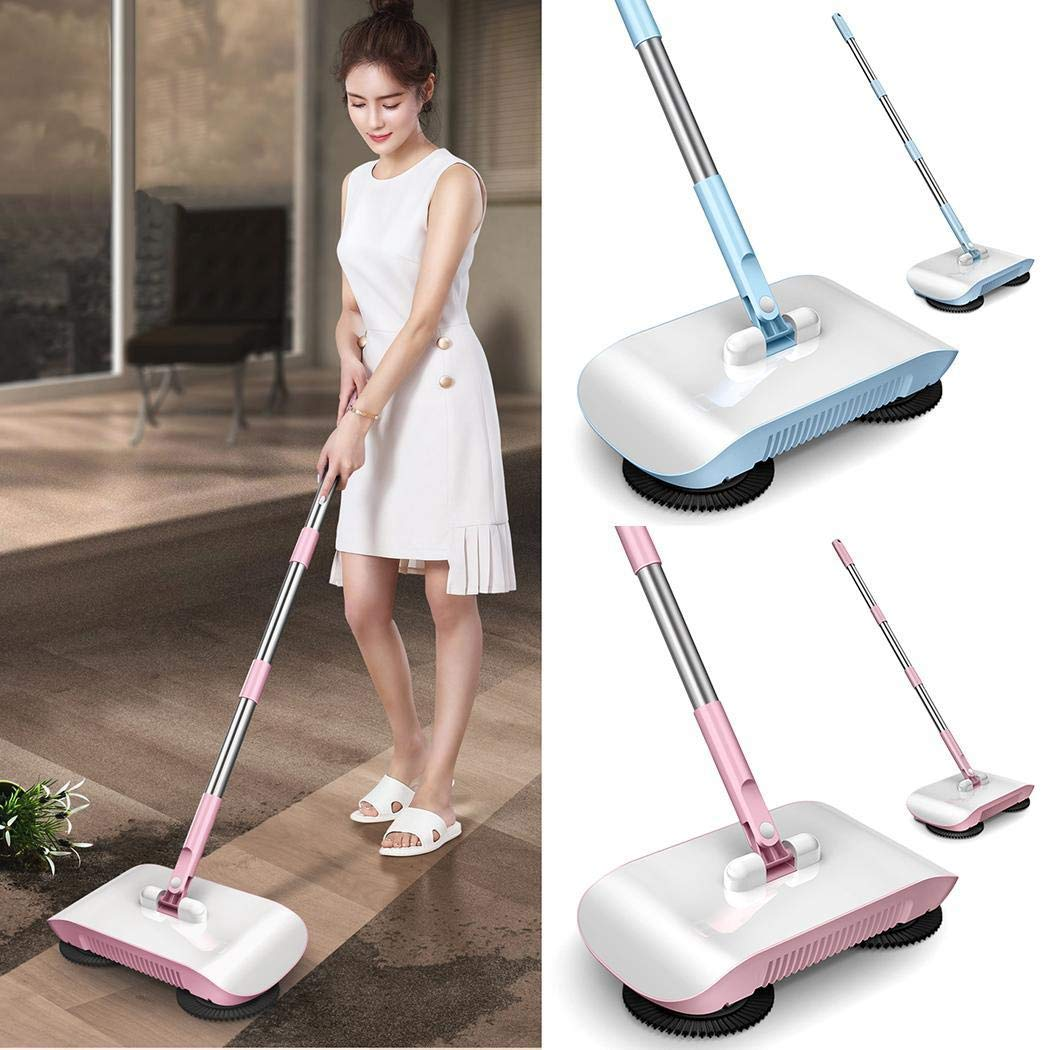 Tinffy 2 in 1 Hand Push Home Sweeper Broom Dustpan Set Vacuum Cleaner (Pink)
