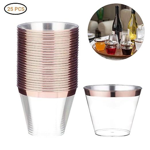Kylewo Gafas de plástico de Oro Rosa - 25 Paquetes Decoraciones de Vasos de plástico Transparente con Borde de Oro Rosa Gafas de cumpleaños ...