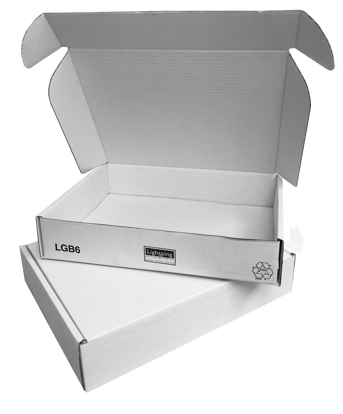 Cajas para envío por correo de color blanco, 360 x 280 x 72 mmPaquete de 25 unidades.Caja lisa plana resistente de cartón tipo pizza, con solapas para ...