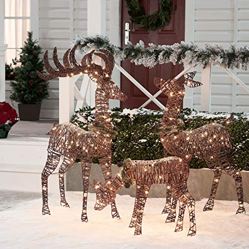 ISbonusIS Christmas Decorations Deer Family Park Decor Light Ideas Ornaments (Decor Ideas Christmas Depot Home)