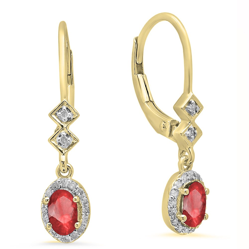 10K Yellow Gold 5X3 MM Each Oval Ruby & Round White Diamond Ladies Dangling Drop Earrings