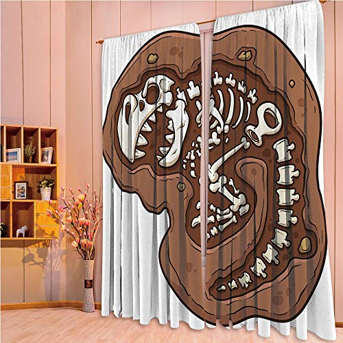 ZHICASSIESOPHIER Bedroom/Living Room/Kids/Youth Room Curtain Panels, 2 Panel,Ground Clip Art Style Dead Bones Archeology 108Wx90L -