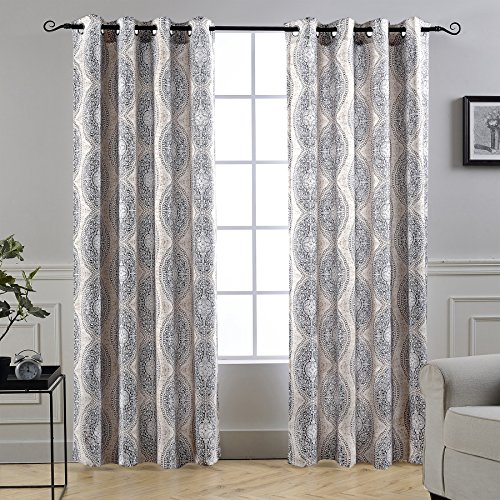 (DriftAway Adrianne Damask and Floral Pattern Thermal and Room Darkening Grommet Unlined Window Curtains Set of 2 Panels Each 52 Inch by 84 Inch Beige and Gray Natural)