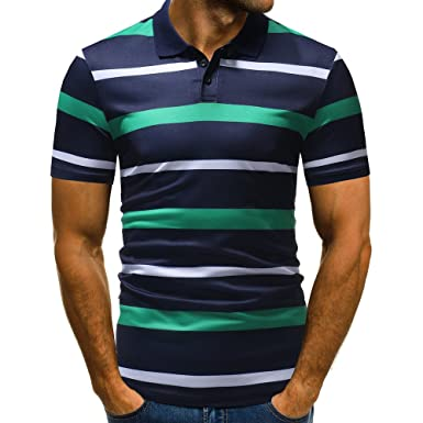 KASAAS Henley Shirts for Men Contrast Stripe Button V-Neck Tops Short Sleeve Fashion Summer Casual Basic Polo T-Shirts