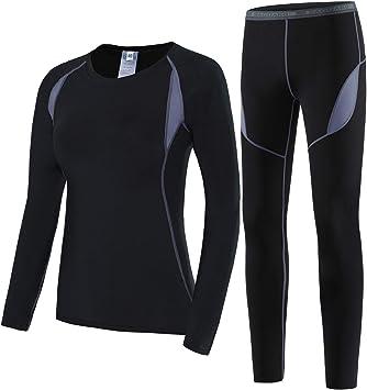 HAINES Conjuntos Térmicos Mujer Set Suit Esquí Térmica Ropa Interior Térmica Manga Larga Camiseta + Térmica Pantalones Largos para Running Ciclismo Esquí Invierno: Amazon.es: Deportes y aire libre