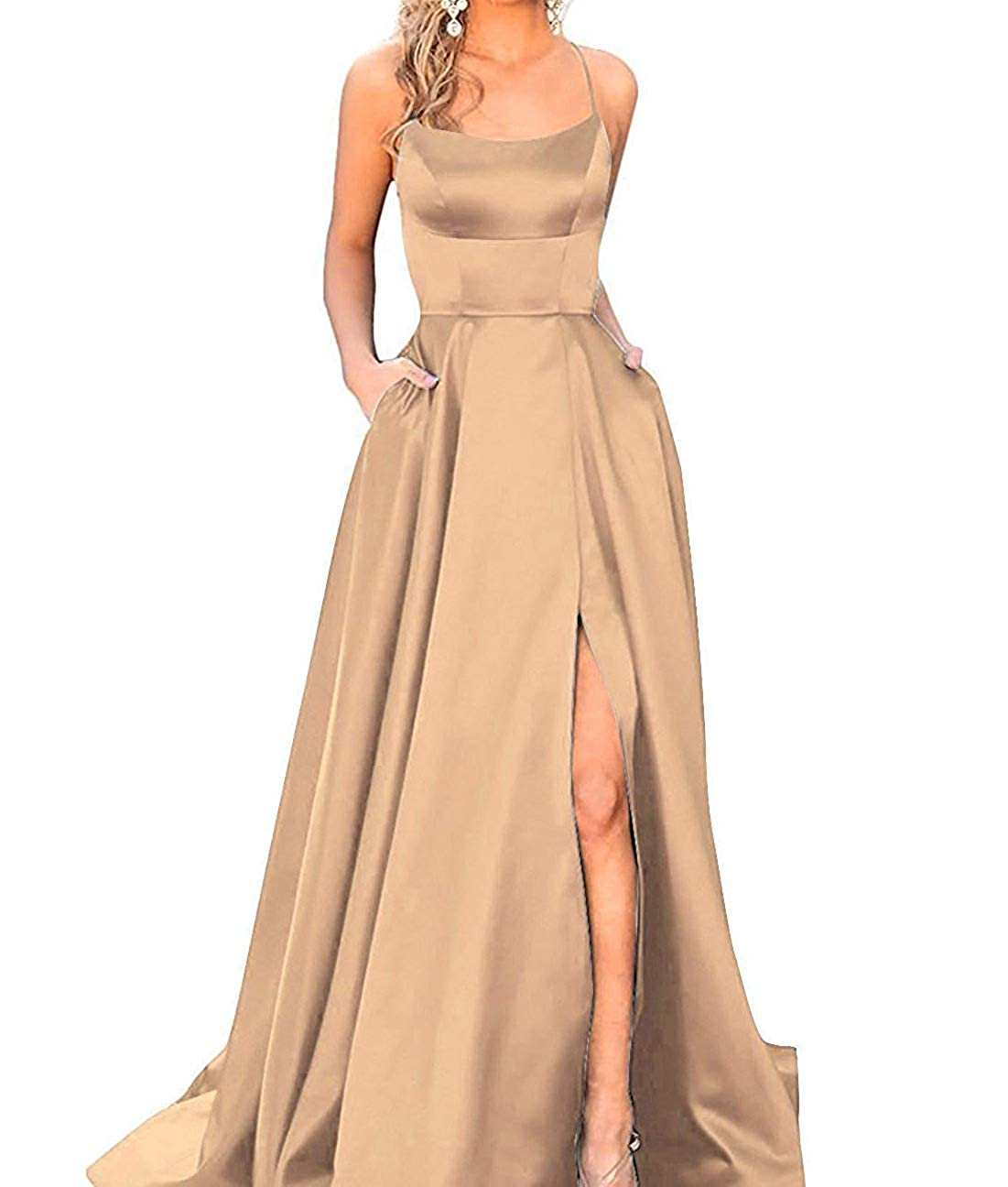 Champagne Fanciest Women's Halter Slit Satin Prom Dresses Long Backless Evening Formal Gowns