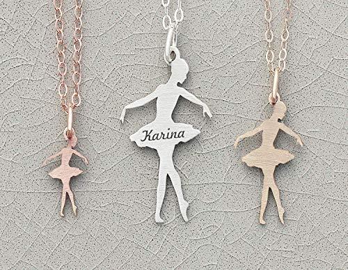 14k Ballerina - Ballerina Necklace Dancer Jewelry - IBD - Little Girls Gift Ballet - Ballet Slipper Ballerina Dance Teacher - Ships in 1 Business Day - 935 Sterling Silver 14K Rose Gold Filled Charm