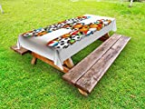 Ambesonne Letter H Outdoor Tablecloth, Letter H Stacked from Gaming Balls Alphabet of Sports Theme Competition Activity, Decorative Washable Picnic Table Cloth, 58 X 120 inches, Multicolor
