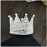 Xiwstar Full Crystal Rhinestone Birthday Hair Crown Baby Girl Flower Tiara Headband Party Hat Hairband (Silver)