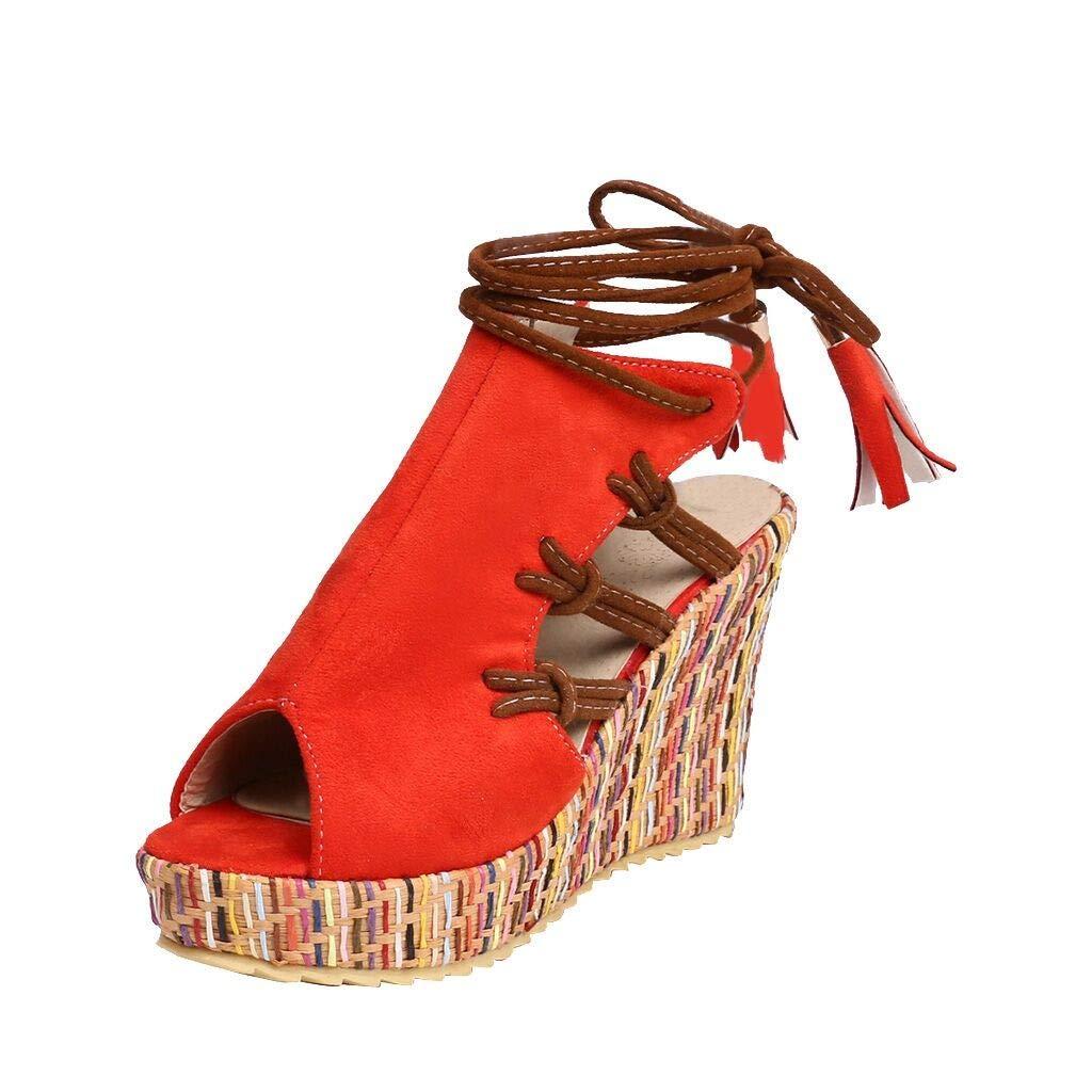 fb97ee9c499 Amazon.com: Women Peep Toe Wedges Sandals Ethnic, NDGDA Ladies ...
