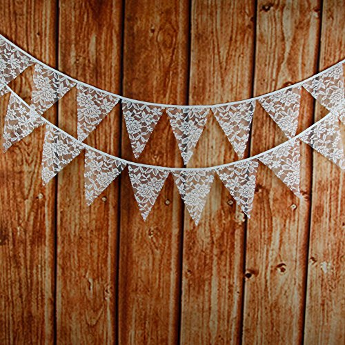 jijAcraft 3.2M/10Feet Lace Bunting Vintage Flag Banner Pennant Garland Fabric Triangle Flags Lovely Cloth Shabby Chic Decoration for Retro Wedding Birthday Parties (Lace) -