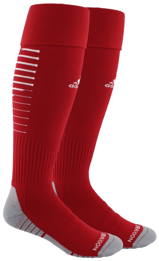 adidas Unisex Team Speed II Soccer Socks, (1-Pair), Power Red/White/Light Onix, 9-13 by adidas