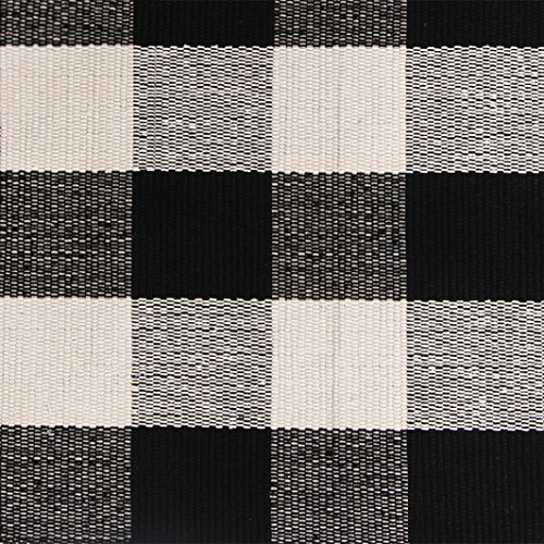 Black White Cotton Rug Checkered Doormat Plaid Area Rug Entry Way Porch Mat Washable Throw Rug 2x3 Rug -