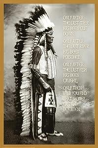 E Chief White Cloud (Native American Wisdom) Art Poster Print 24 x 36in