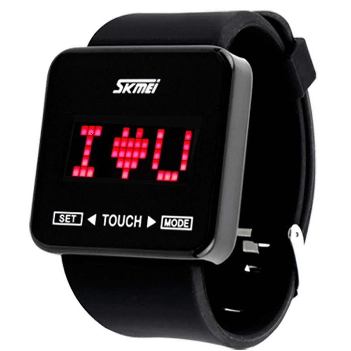 Jewtme Touch Screen Digital LED Waterproof Boys Girls Sport Casual Wrist Watches -Black