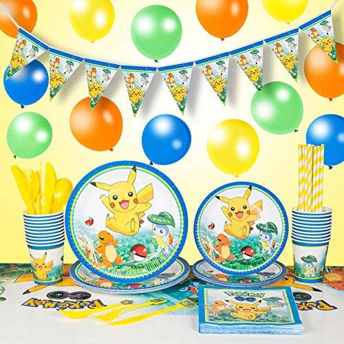 Pokemon Pikachu Theme Party Supplies Set for 20 Guests With Plates, Balloons, Napkins, Tablecover, Cups,Knife and Fork Spoon,Birthday Banner