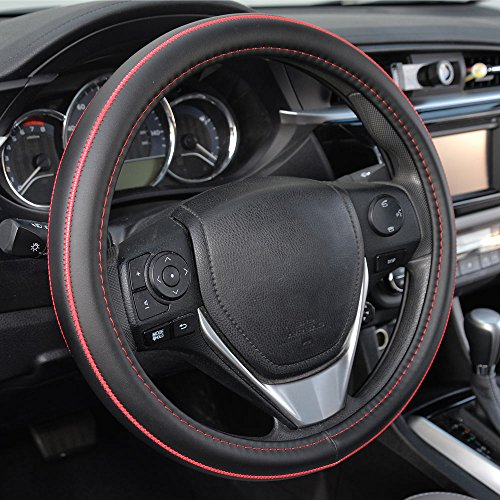 BDK ACDelco Compatible Car Steering Wheel Cover Replacement Cover for 14.5 to 15.5 Wheel, Synth Leather Red Stitch