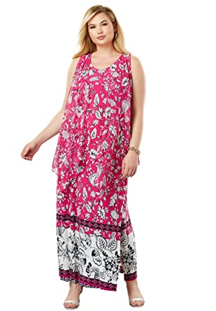 1da46003246 Jessica London Women s Plus Size Travel Knit Maxi Dress   Vest Set at Amazon  Women s Clothing store