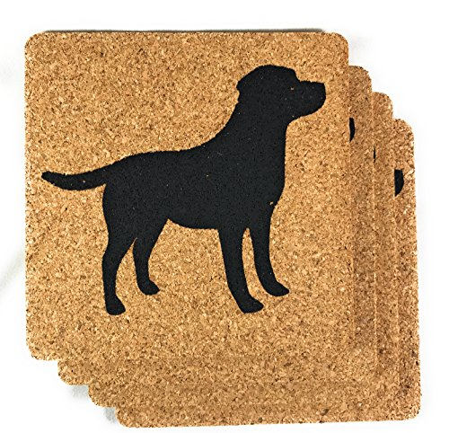 - Labrador Retriever Dog Gift Cork Drink Coasters Set of 4- Basic Design Lab Dog Decor - Perfect Decoration for Puppy Lovers (Labrador, 3 7/8