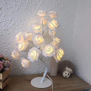 Jiali Lampe de Table LED Rose, décoration Romantique pour Chambre à ...