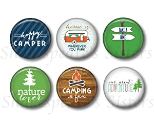 Camping Magnets - Fridge Magnets - RV Camping - 6 Magnets - 1.5 Inch Magnets - Kitchen Magnets - Gift for Camper - Cabin Decor - Nature Magnets - Happy Camper