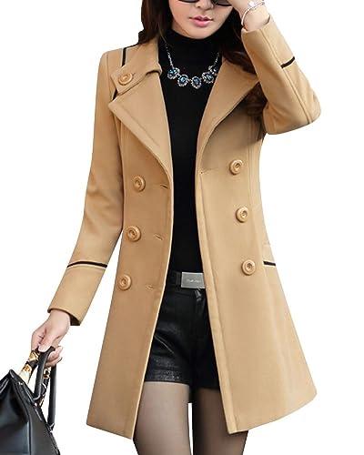 Mujer Clásica Delgado Cintura De Cinto y Doble Botones Abrigo Chaqueta