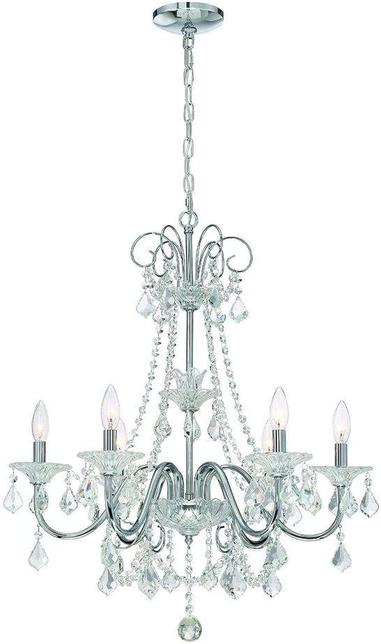 Canterbury Park Collection 6-Light Chrome Crystal Chandelier